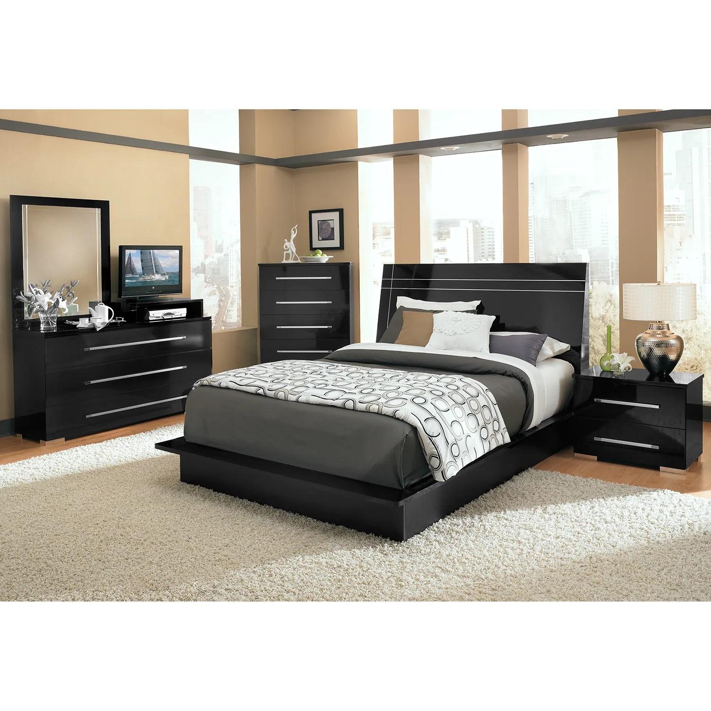 dimora queen panel bed - black   american signature furniture