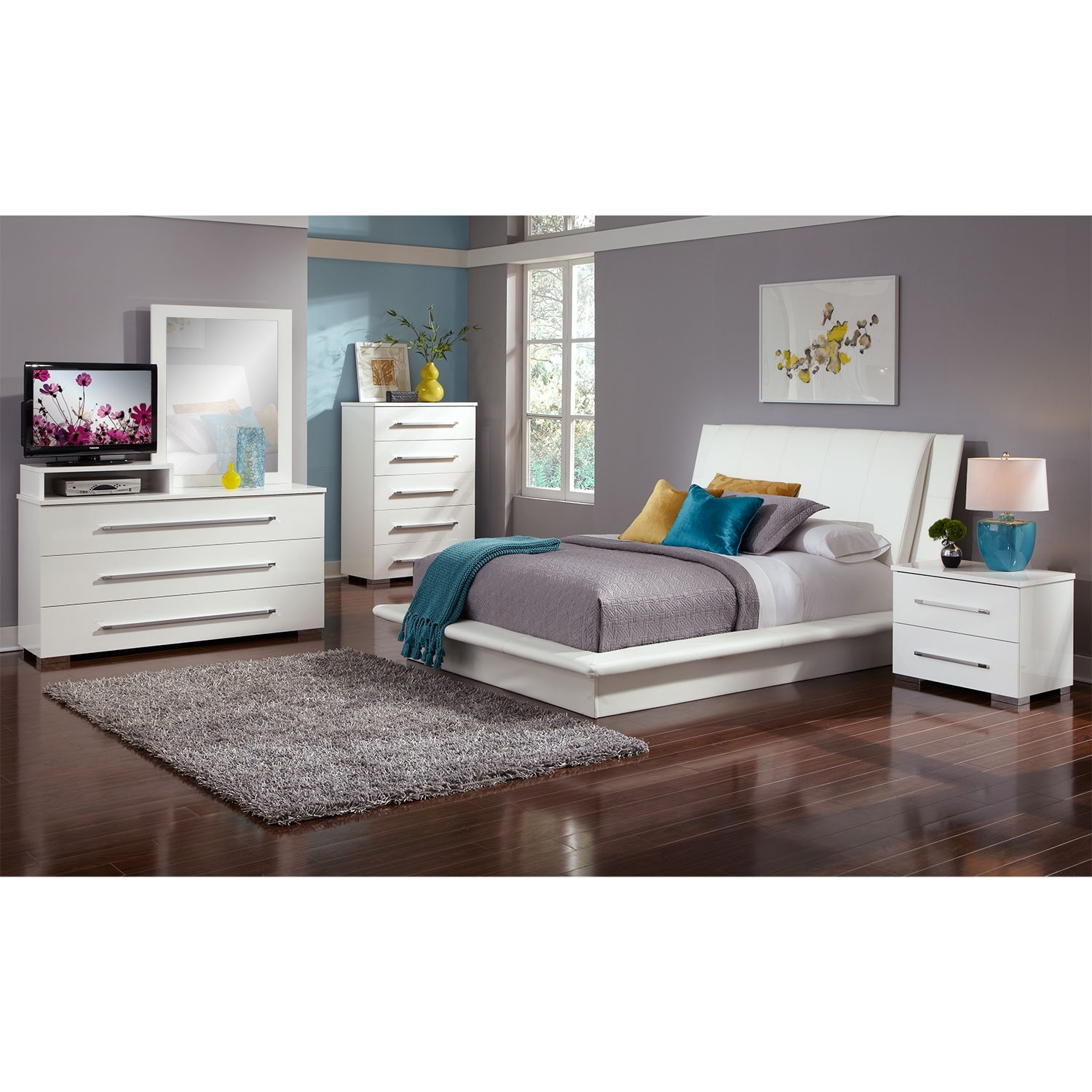 dimora queen upholstered bed - white | american signature furniture