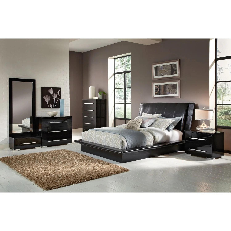 dimora 7-piece queen upholstered bedroom set - black   american