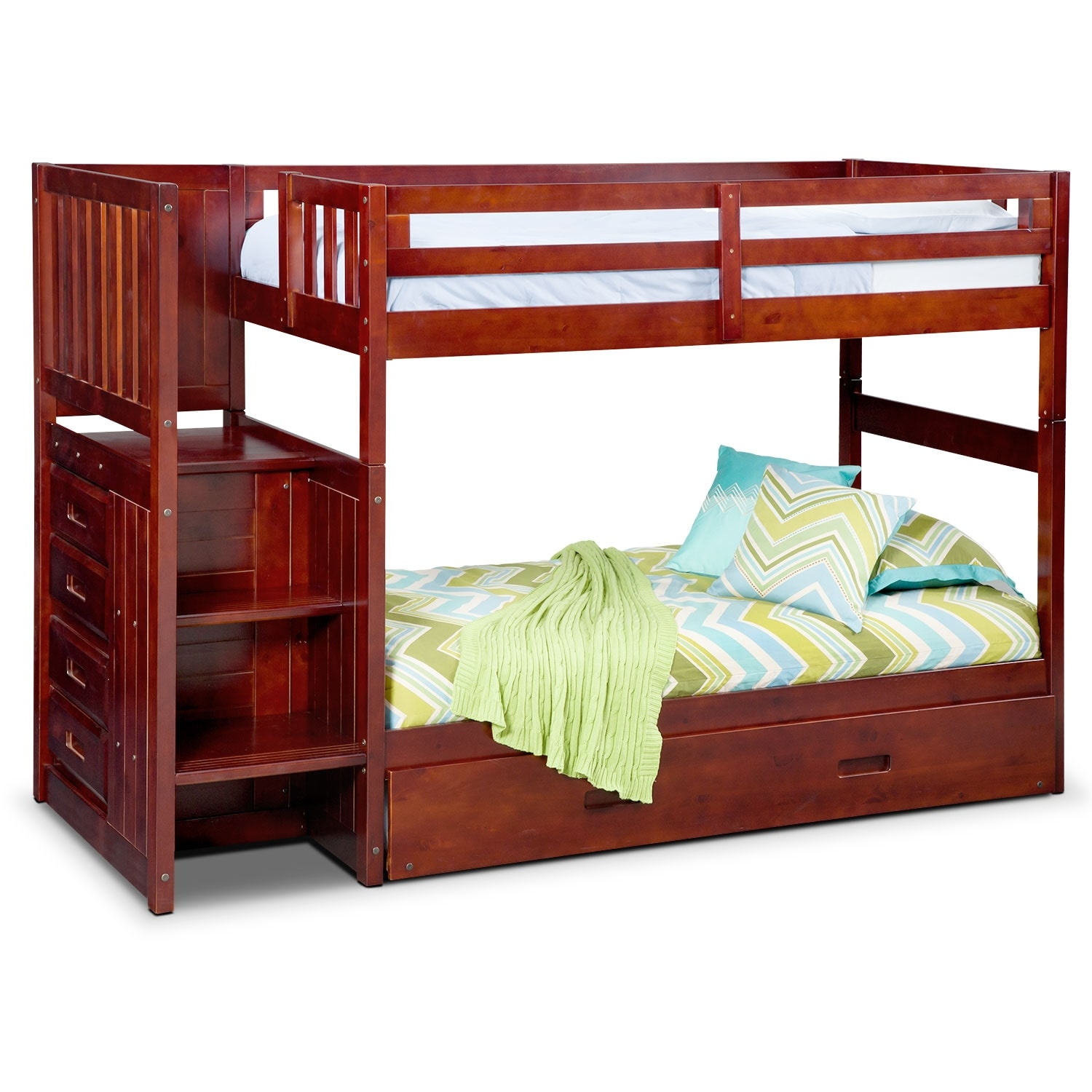 Ranger Twin Over Twin Bunk Bed With Storage Stairs And Twin Trundle American Signature Furniture