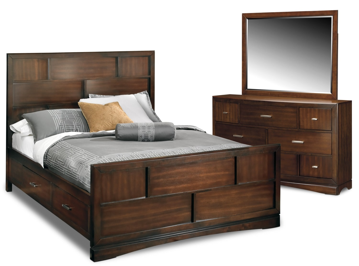 toronto 5 piece storage bedroom set with dresser and mirror