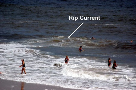 photo example of rip current riptide at beach