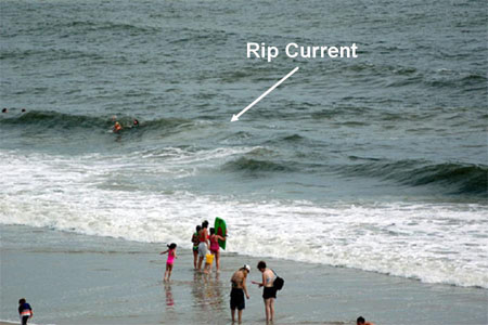 riptide rip current on beach photo example