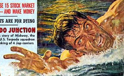 vintage adventure magazine cover man swimming riptide
