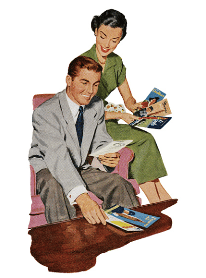 vintage couple looking at travel brochures illustration