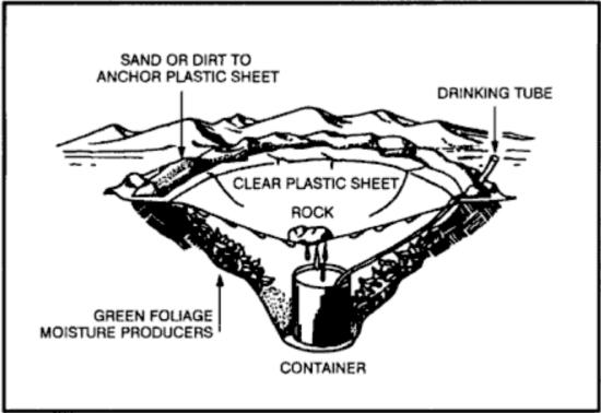 underground still for collecting water in wilderness