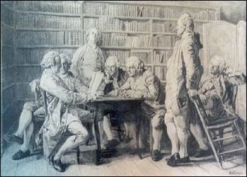 benjamin franklin junto meeting of men library drawing