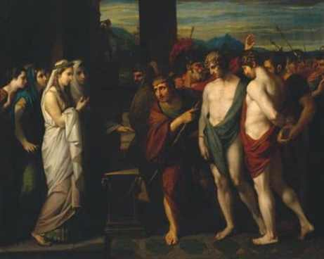 orestes in ancient greece large crowd of people painting
