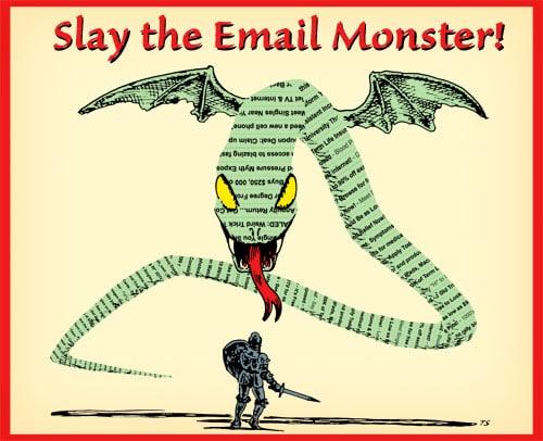 knight battling dragon illustration email monster
