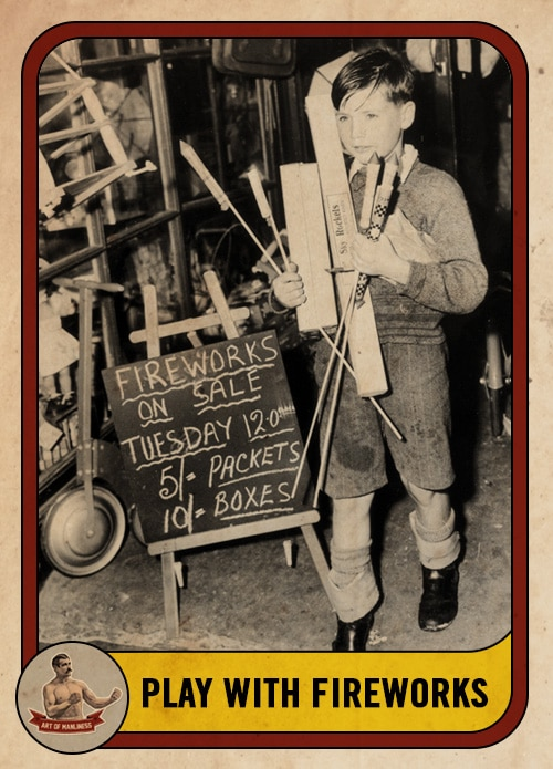 vintage young kid buying and holding fireworks