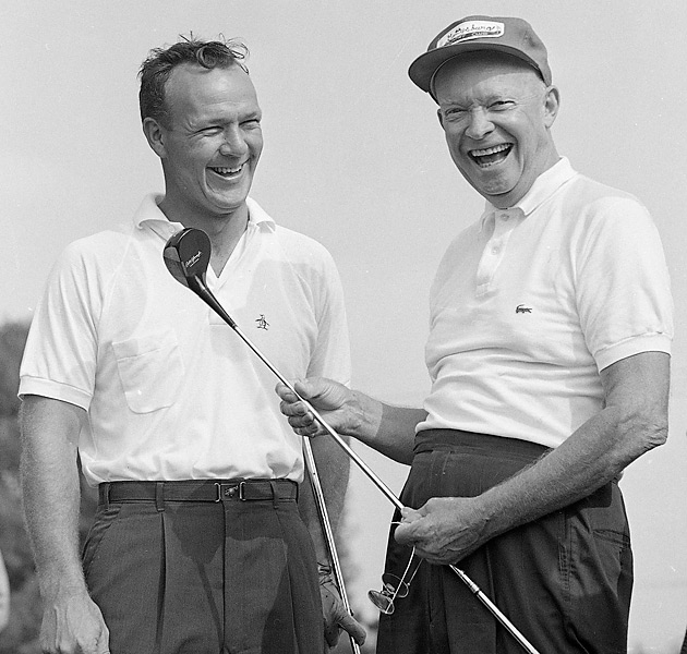 dwight eisenhower playing golf wearing polo and baseball cap