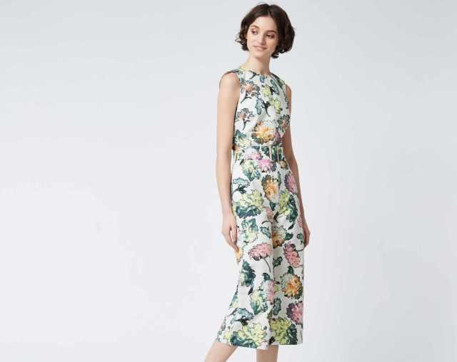 model wearing warehouse decoupage jumpsuit