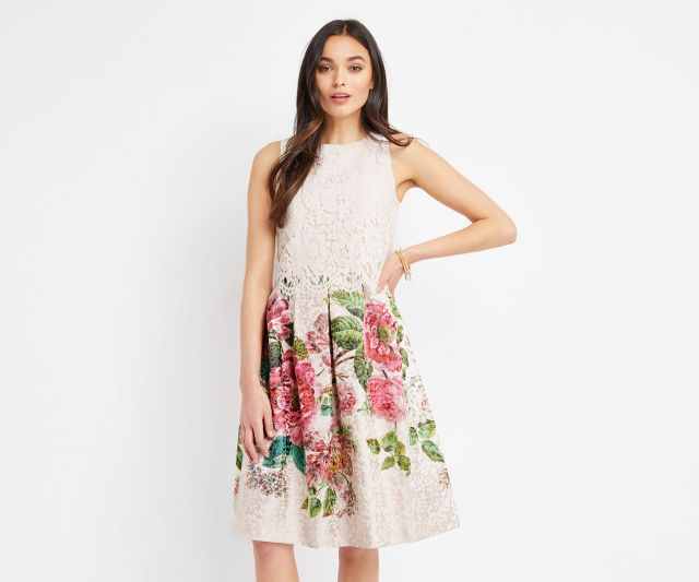 model wearing oasis royal worcester placement midi dress