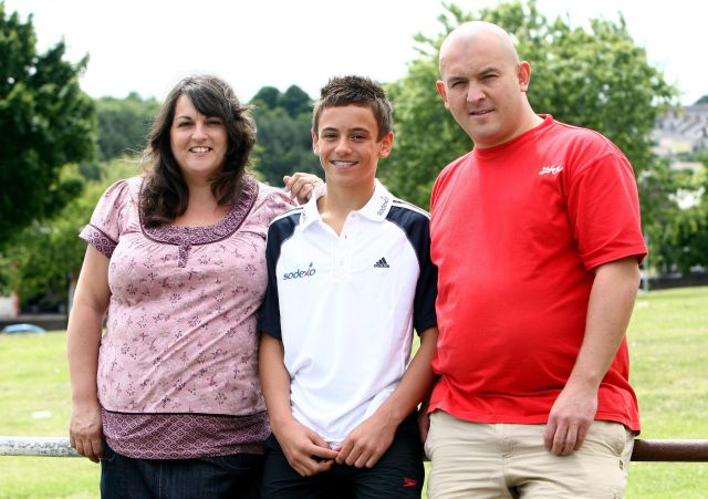 Tom Daley with his parents Rob and Debbie in 2008. (David Davies/PA Photos)