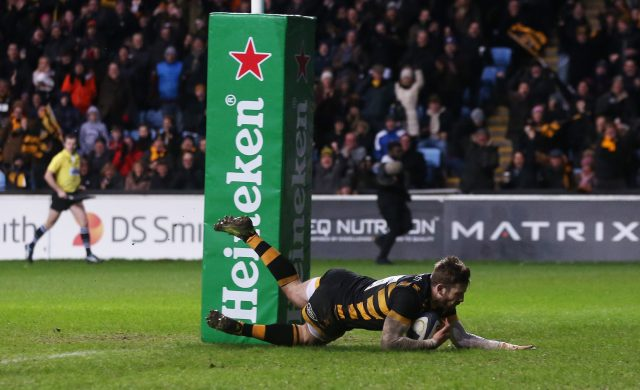 Elliot Daly scores a try for Wasps in the European Champions Cup