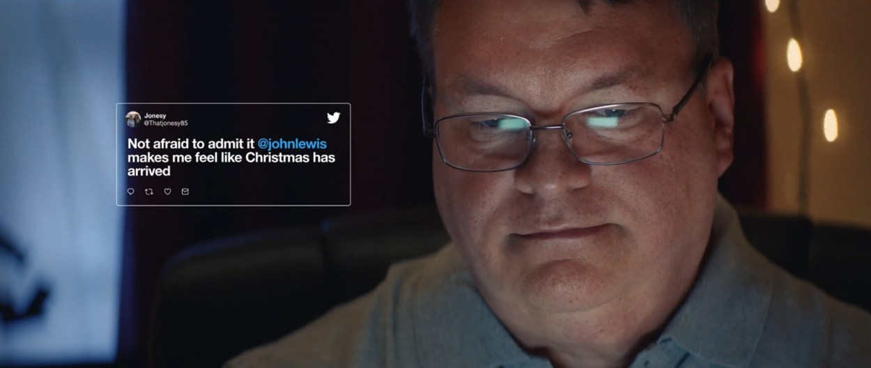 A screenshot of Twitter UK's Christmas advert starring John Lewis