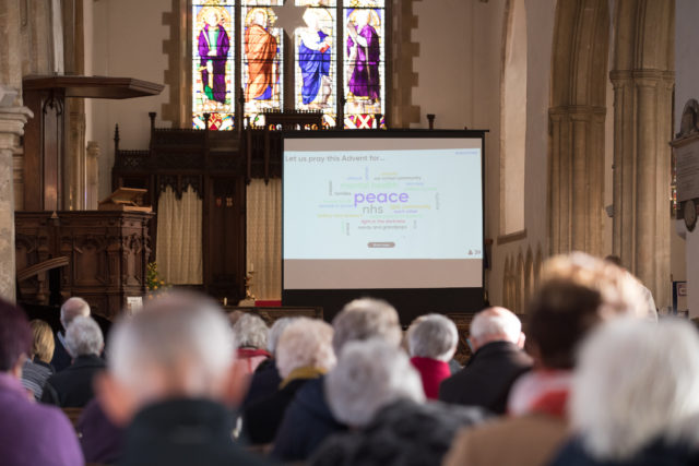 """A """"word cloud"""" displays things that the congregation at Aylsham Parish Church in Norfolk is praying for, after they voted on a smartphone app. (Mentimeter/ PA)"""