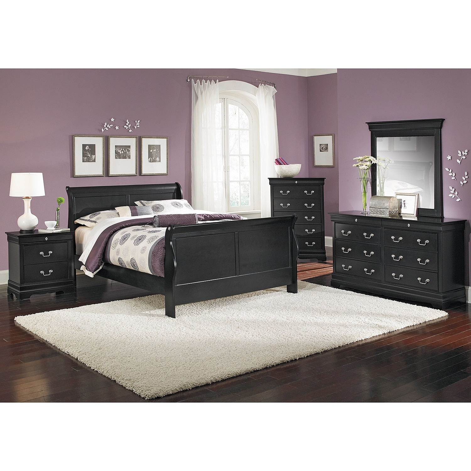 Neo Classic Black Queen Bed American Signature Furniture