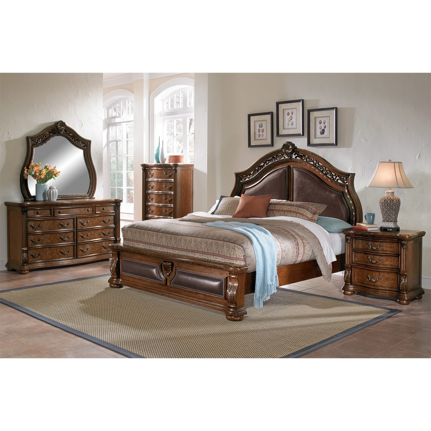 Morocco King Bed Pecan American Signature Furniture
