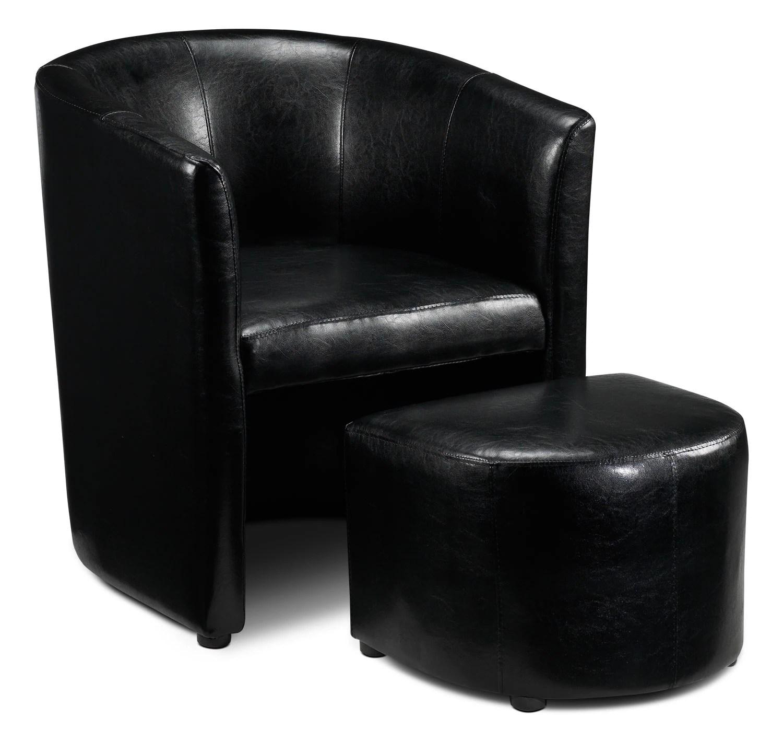 Elton Tub Chair And Ottoman Black Leons