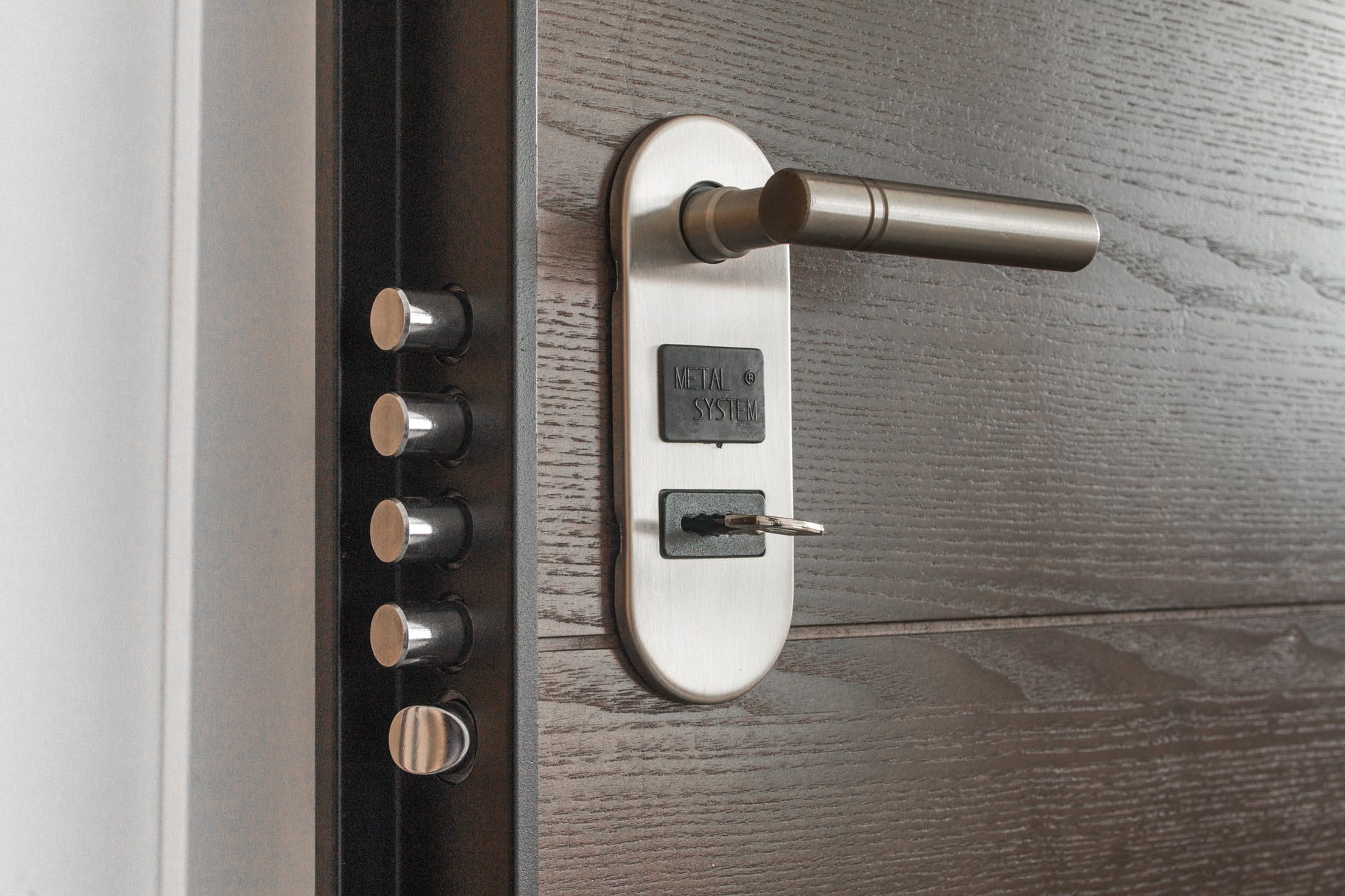 A door with various locks.