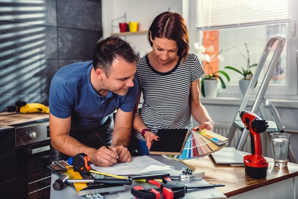 Couple renovating their kitchen