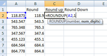 Using Roundup function in Excel