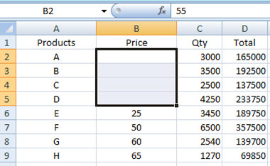 hiding cells in Excel
