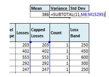 Calculate variance using subtotal function on excel