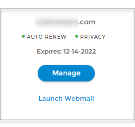Connect Domain.com with Wix - Card View, click Manage