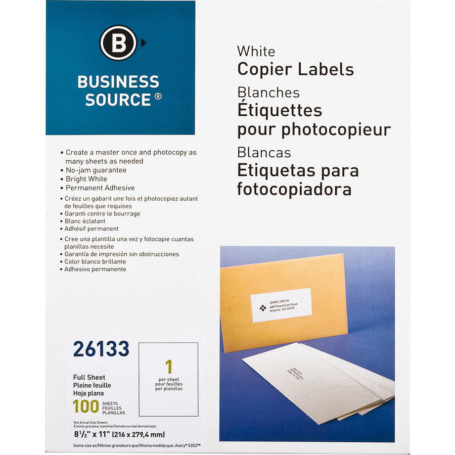 Business Source Business Source Copier Full Sheet Label