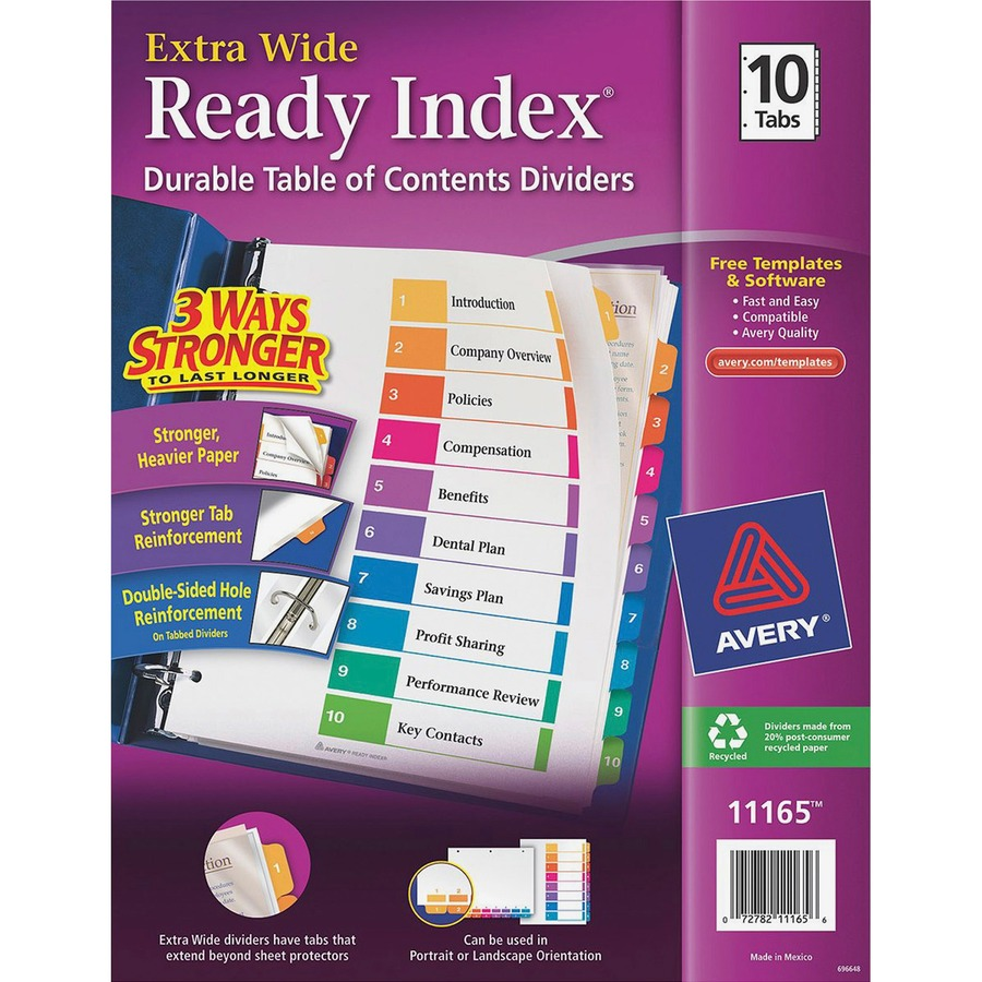 Avery 10 Tab Template  avery executive ready index table