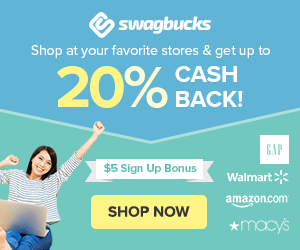 Earn cash back while you shop online using swag bucks.