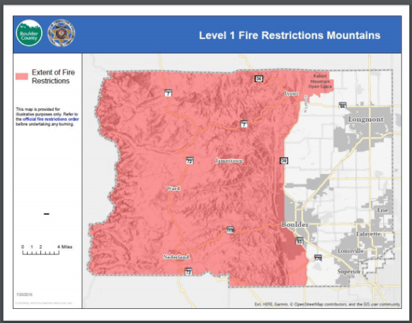 Map of area affected by Level 1 Fire Restrictions