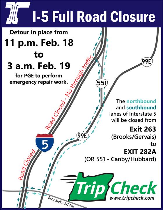 I-5 Closure Map Feb. 18, 2021