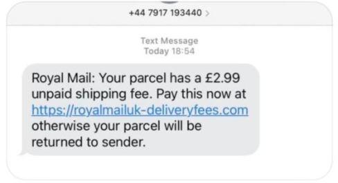 Fake Royal Mail text