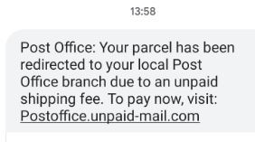 Fake Post Office text message