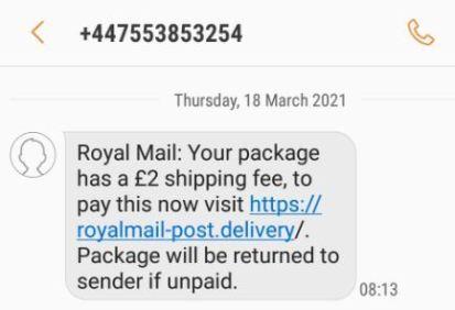 Fake Royal Mail text 3