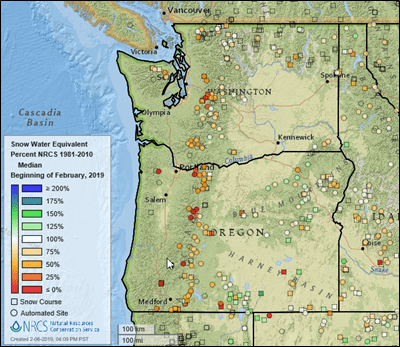 Unusual snow at sea level has little impact on Pacific Northwest snowpack