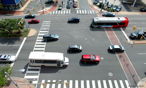 Aerial view of major intersection with traffic