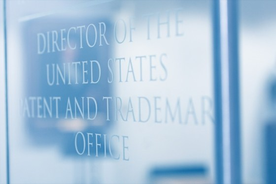 Glass door with title Director of the USPTO