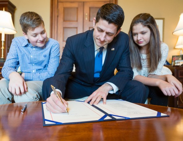 A Special Bill Signing with Speaker Ryan's Children