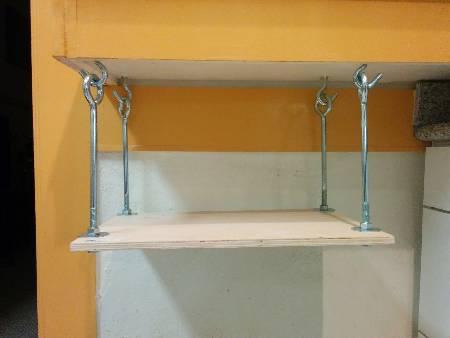 hanging microwave shelf 5 steps with