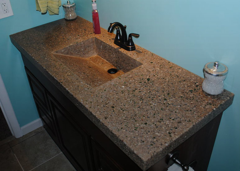 concrete countertop with integrated