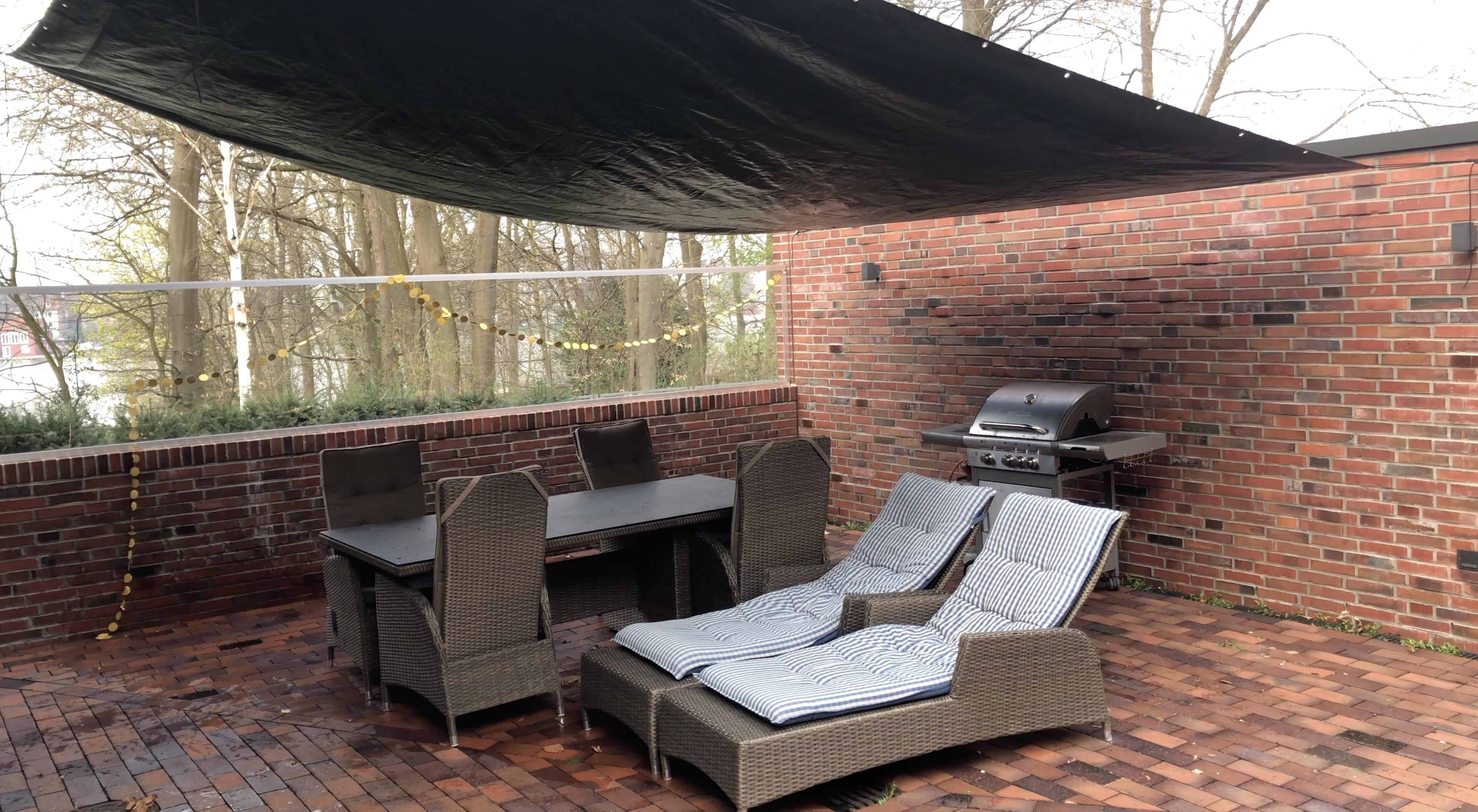low incline patio tarp for rain and sun