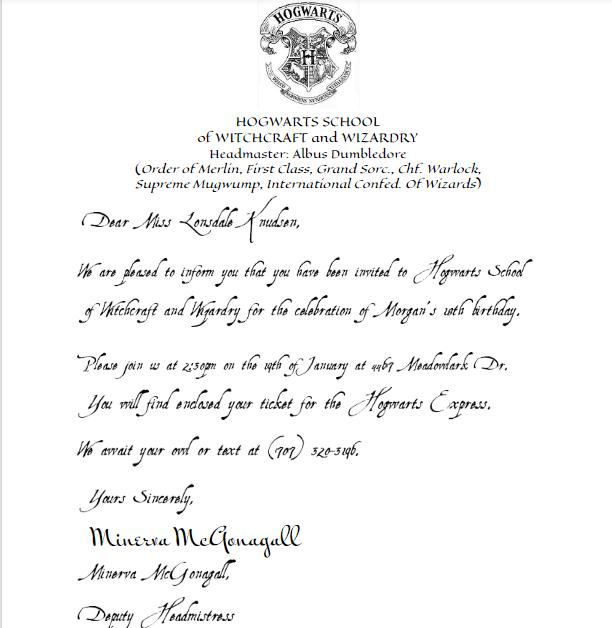 hogwarts acceptance letter birthday