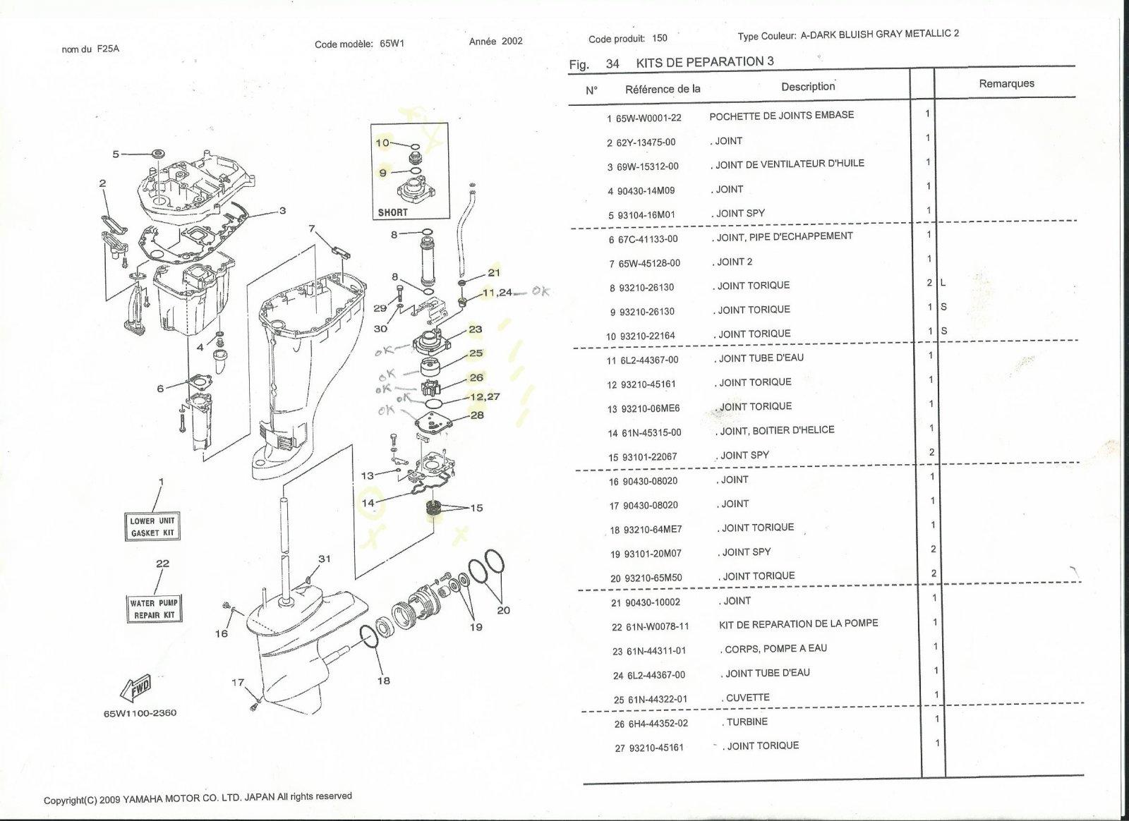 Remonter Joint Spy Neuf F25a Yamaha Hors Bord Mecanique Forum Bateau Forum Auto