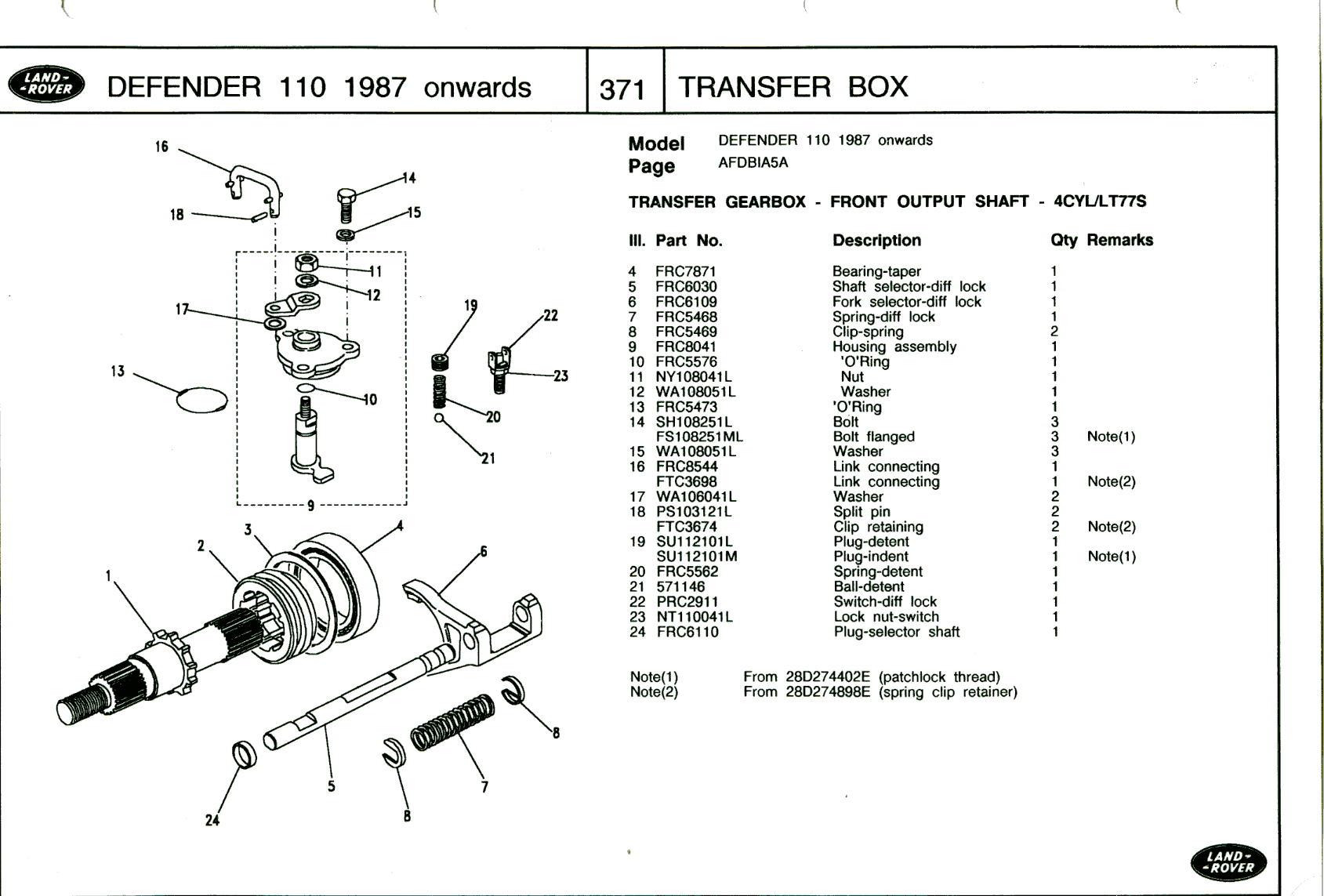 Defender Transfer Box Linkage