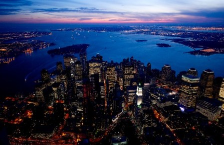 NYC and Las Vegas from above, at night – aerial photos by Jason Hawkes