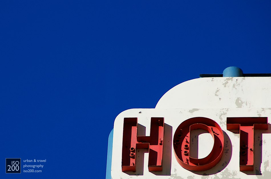 Neon hotel sign detail, Mahattan, New York